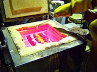 Raked fusing glass
