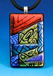 Fused picasso style dichroic pendant