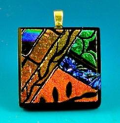 dichroic glass picasso pendant