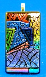 etched dichoric picasso style pendant