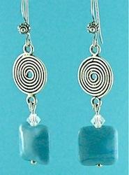 Blue flamework lentil earrings