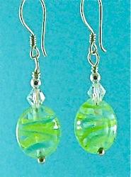 Green flameworked lentil earrings