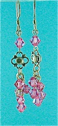 Pink crystal drop earrings