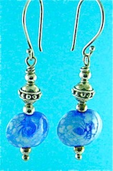 Blue and white flamework earrings