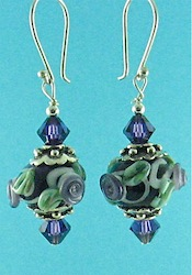 Purple flower flamework earrings