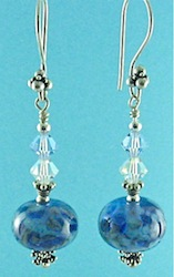 Blue flamework earrings