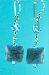 Turquoise flamework lentil earrings