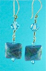 Turquoise flamework lentil earrings