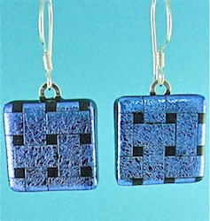 Blue dichroic lattice glass earrings
