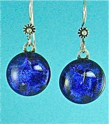 Round blue dichroic glass earrings