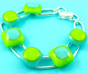 Green fused glass bracelet