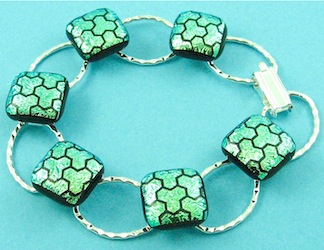 Green dichoric fused glass bracelet