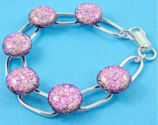 Pink dichroic fused glass bracelet