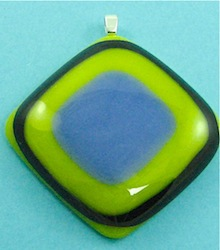 Yellow stacked fused glass pendant