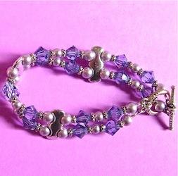 Multi strand bracelet with swarovski