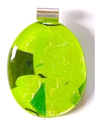 Two Tone Green Fused Glass Pendant