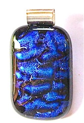 Blue Black Dichroic Glass Pendant