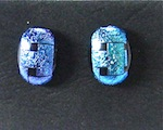 Bluecross fused glass dichroic earrings