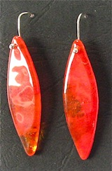 Red drop glass earrings