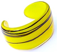 Yellow glass fused cuff bracelet