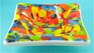 Fused Glass Powder Painted Plate