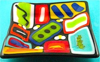 Glass Fused Abstract Plate