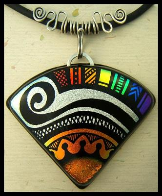 Engraved Dichroic Glass Pendant With Silver Bail