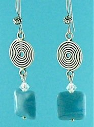 Blue flamework lentil earrings