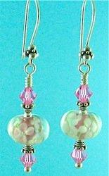 Pink flamework flower earrings