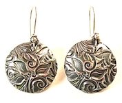 metal clay textured earrings